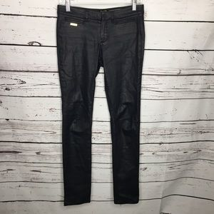 Masssimo Dutti skinny fit black waxed pants
